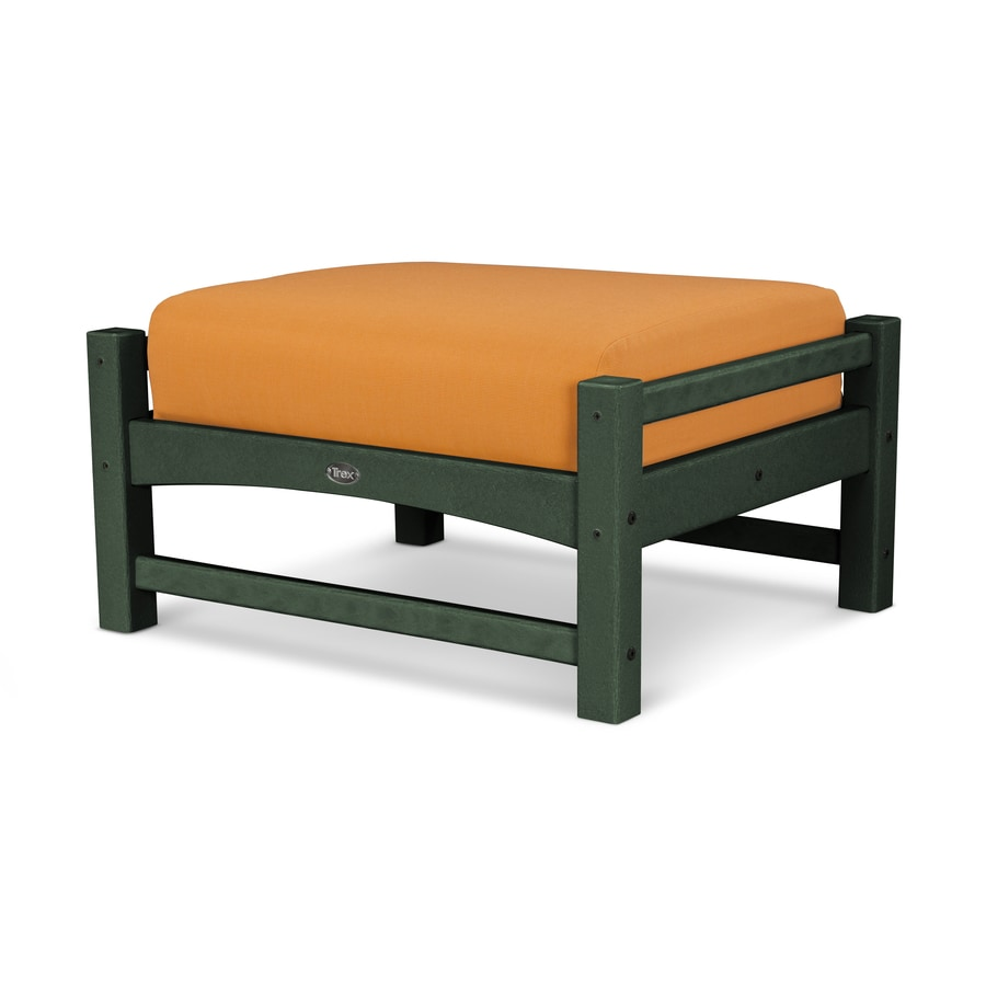 Trex Outdoor Furniture Rockport Rainforest Canopy/Tangerine Plastic Ottoman