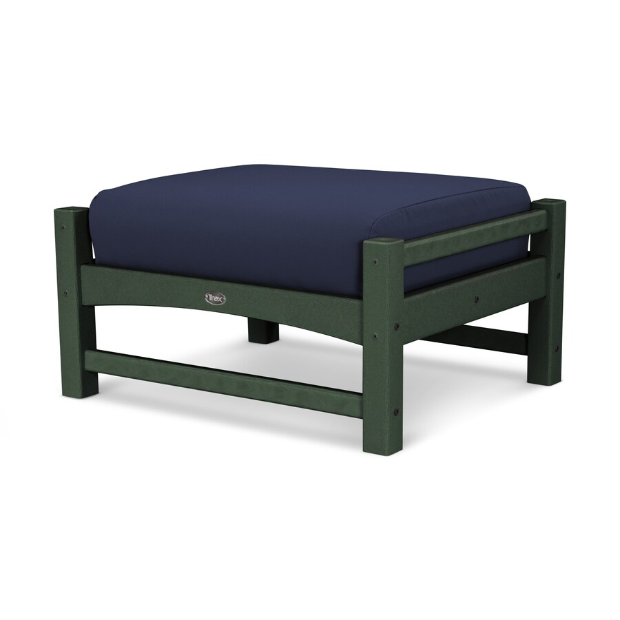 Trex Outdoor Furniture Rockport Rainforest Canopy / Navy Plastic Ottoman