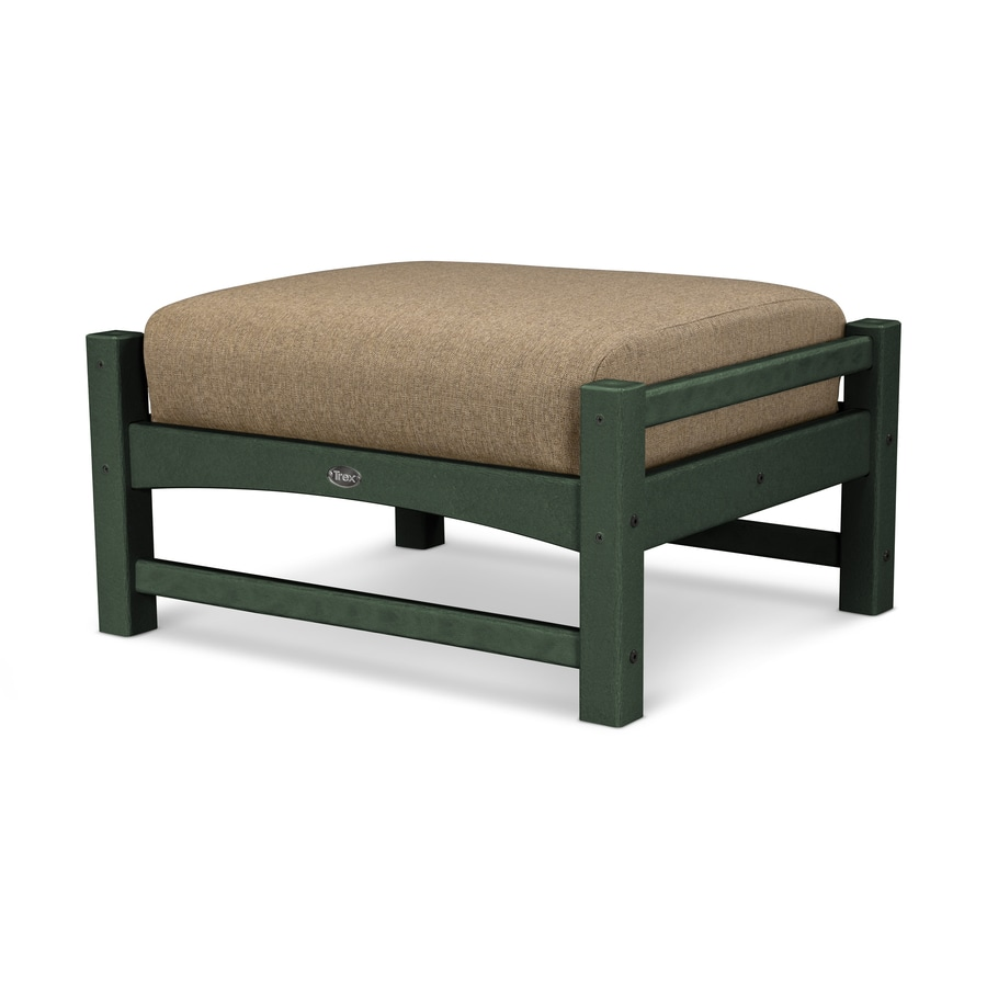 Trex Outdoor Furniture Rockport Rainforest Canopy/Sesame Plastic Ottoman
