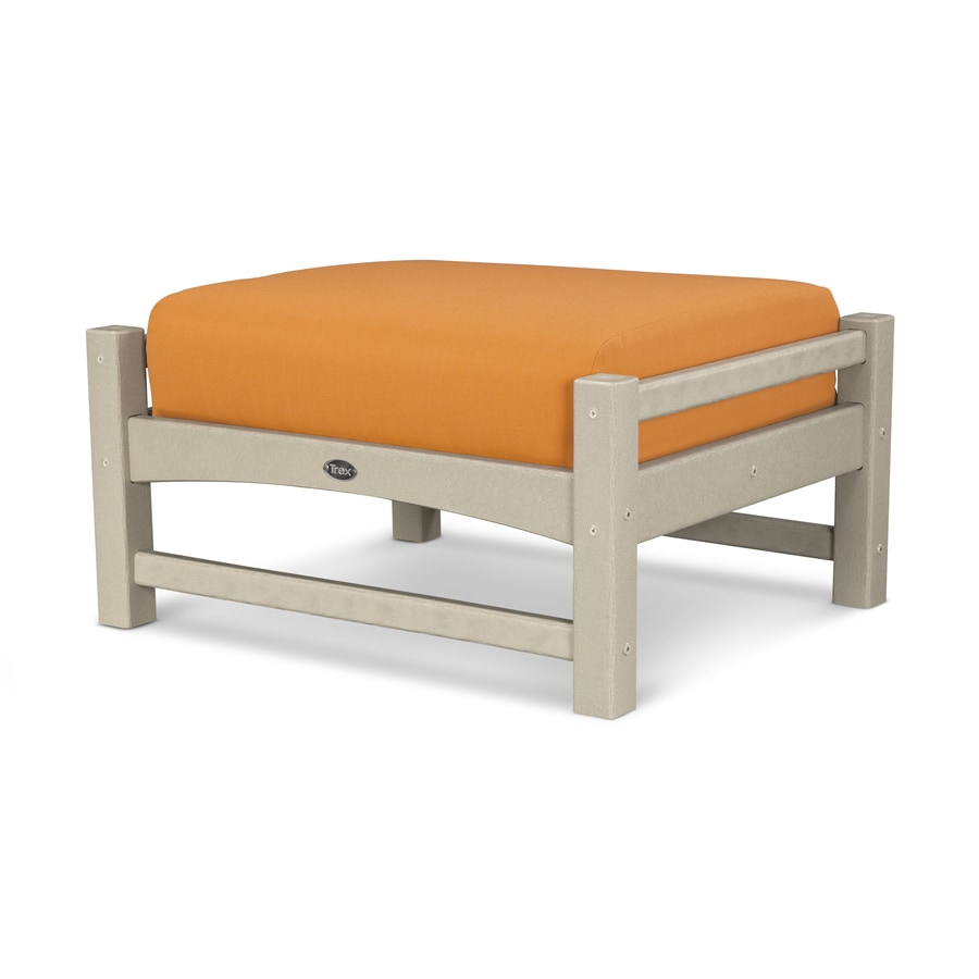 Trex Outdoor Furniture Rockport Sand Castle/Tangerine Plastic Ottoman
