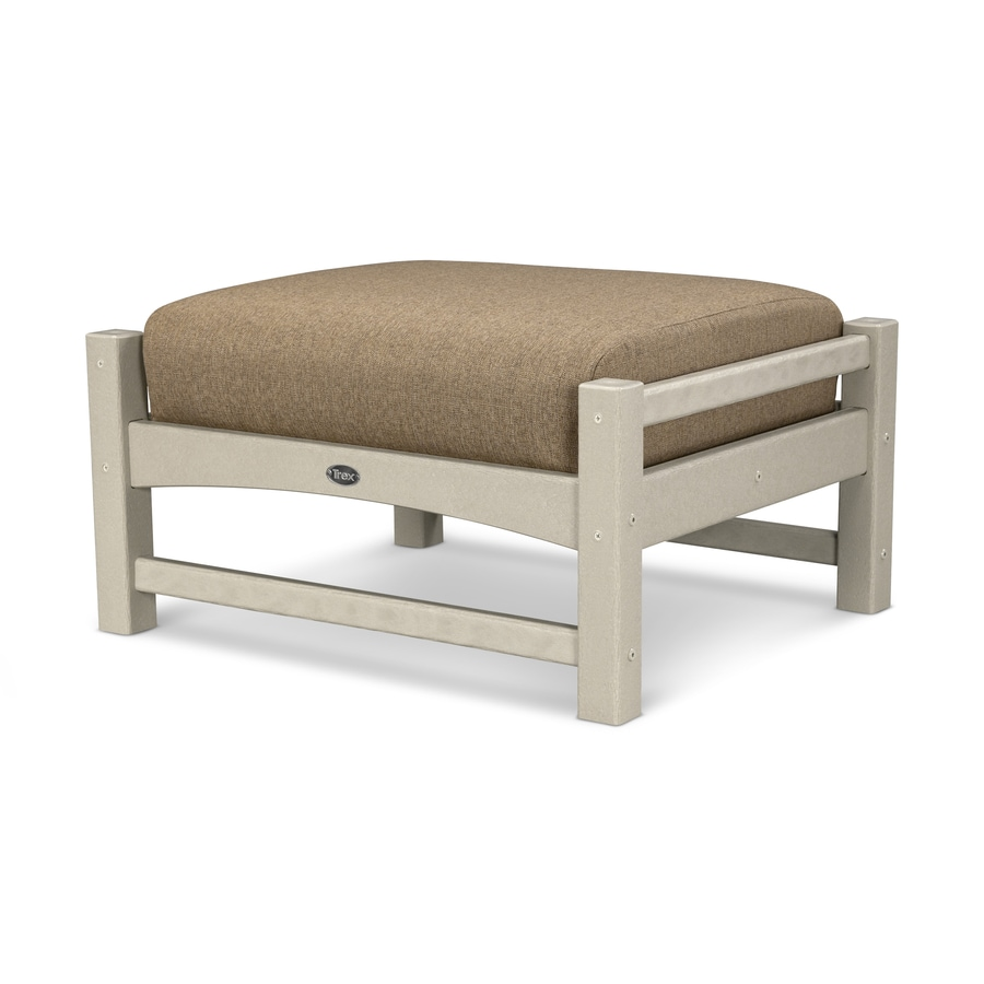 Trex Outdoor Furniture Rockport Sand Castle/Sesame Plastic Ottoman