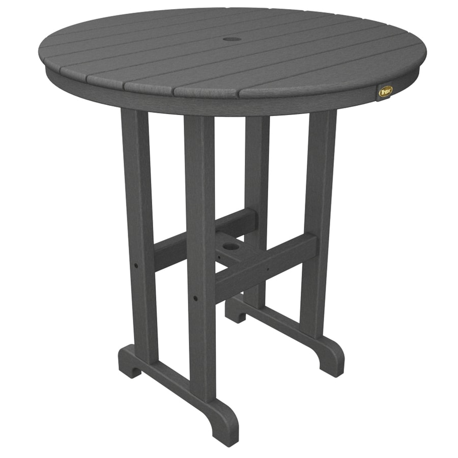 Trex Outdoor Furniture Monterey Bay 35.12-in W x 35.12-in L Round Plastic Bar Table