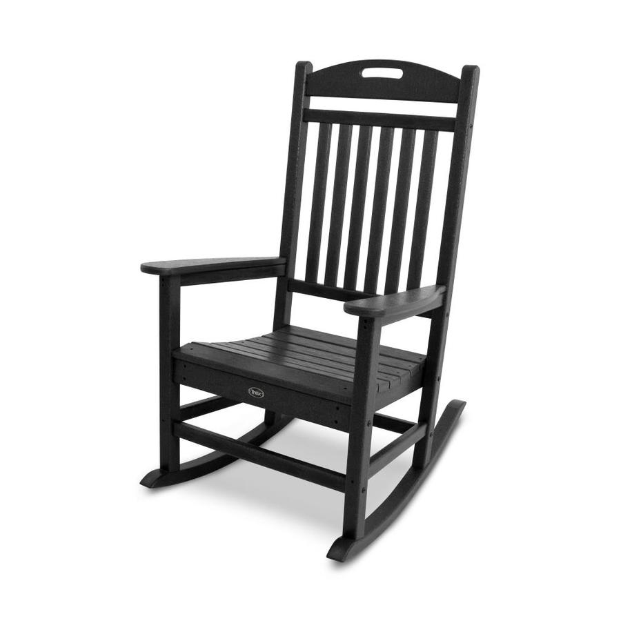 ... Furniture Yacht Club Charcoal Black Plastic Patio Rocking Chair at