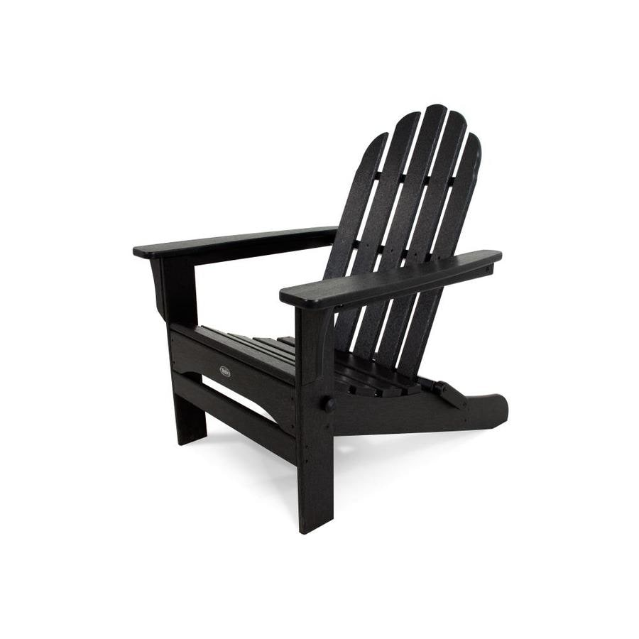 Trex Outdoor Furniture Cape Cod Charcoal Black Plastic Folding Patio Adirondack Chair