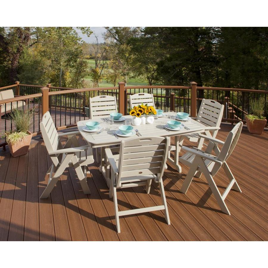 Trex outdoor furniture yacht club 7 piece tan plastic frame patio dining set