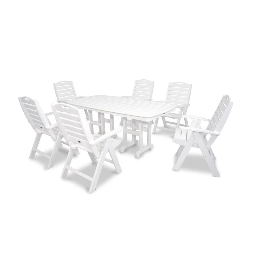 Trex Outdoor Furniture Yacht Club 7-Piece Classic White Plastic Dining Patio Dining Set