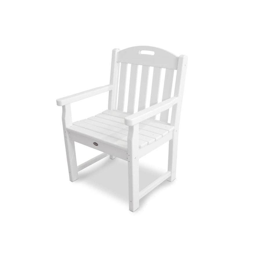 Trex Outdoor Furniture Yacht Club  Classic White Plastic Patio Dining Chair