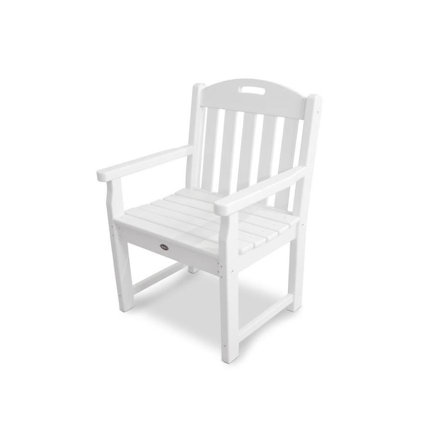 Shop Trex Outdoor Furniture Yacht Club Classic White Plastic Patio Dining Chair At