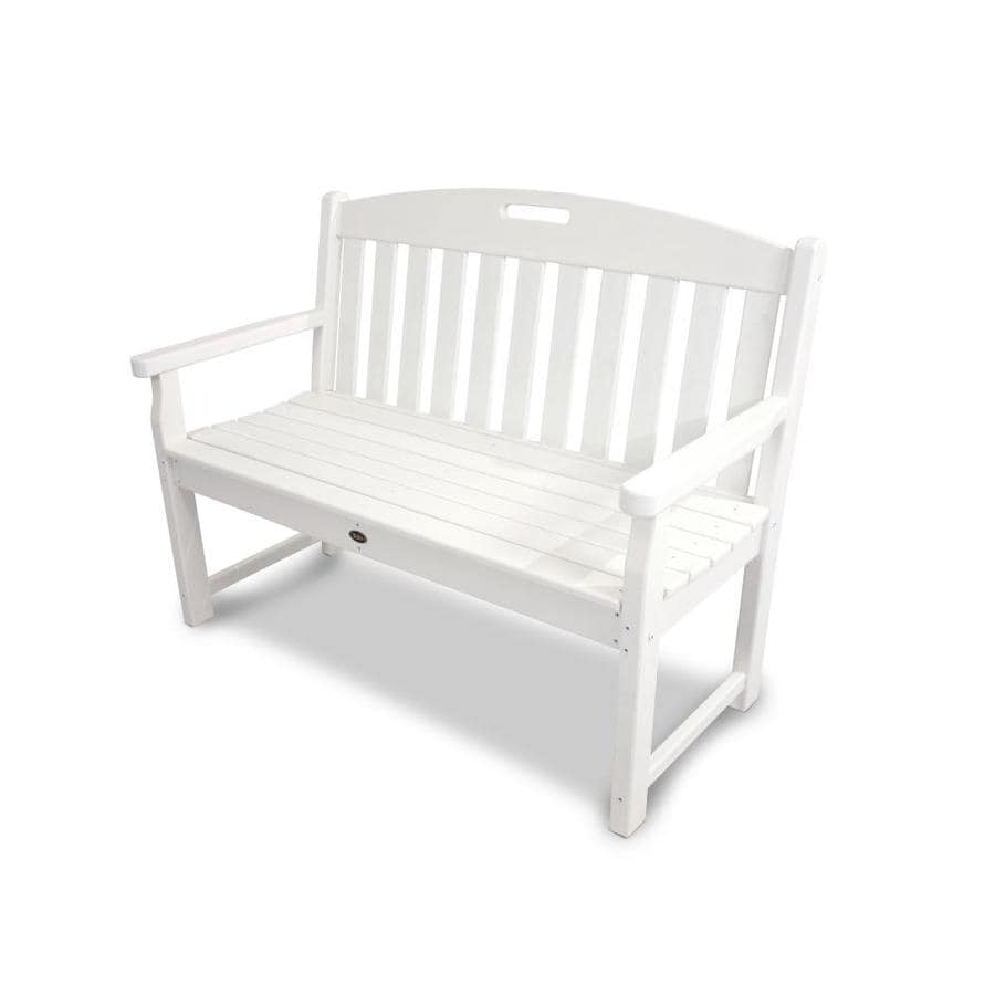 Trex Outdoor Furniture Yacht Club 47.5-in W x 24.25-in L Classic White Plastic Patio Bench