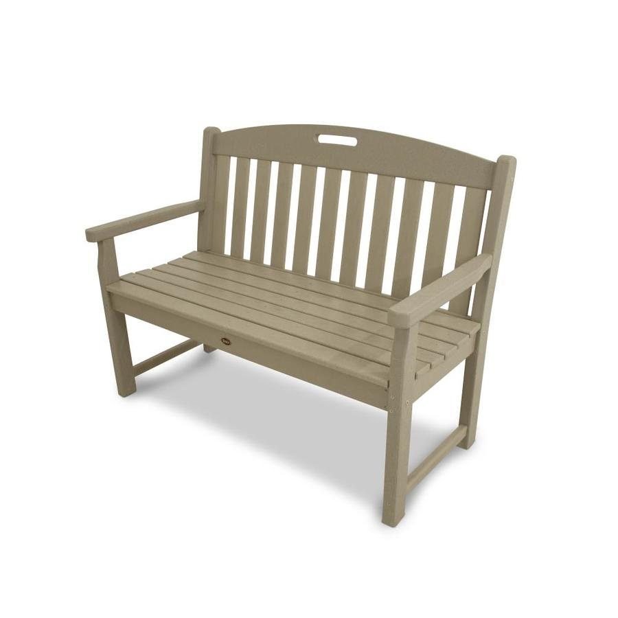 Trex Outdoor Furniture Yacht Club 47.5-in W x 24.25-in L Sand Castle Plastic Patio Bench