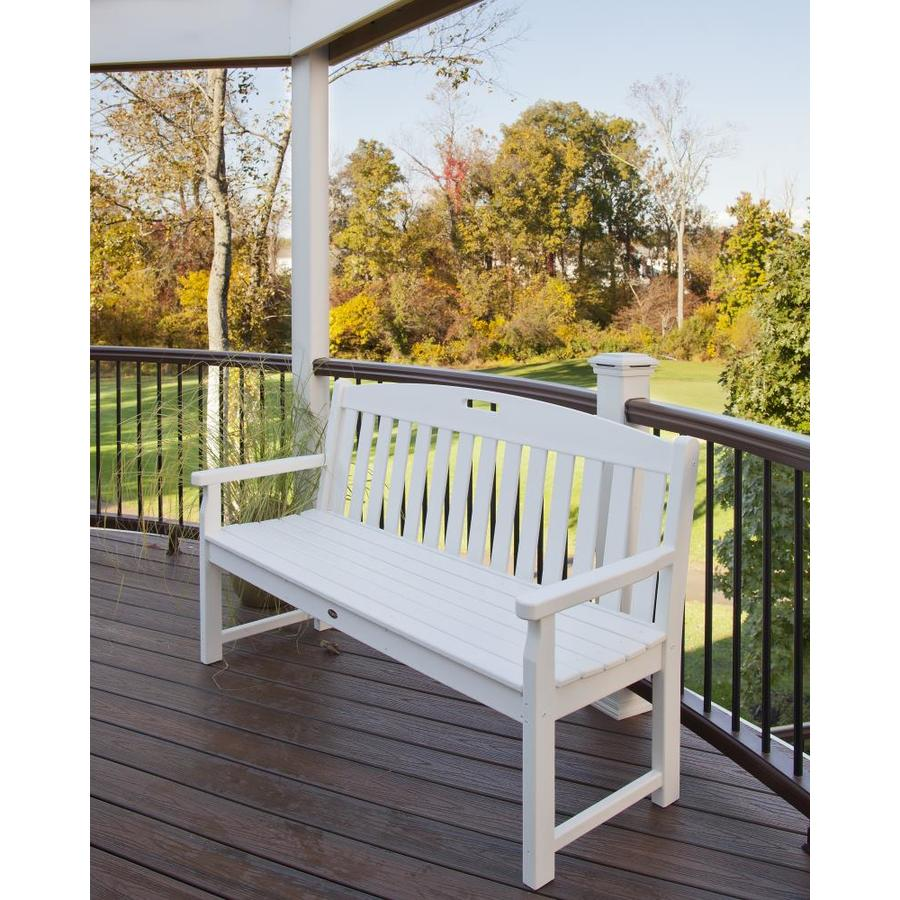 Trex Outdoor Furniture Yacht Club 59-in W x 24-in L Classic White Plastic Patio Bench