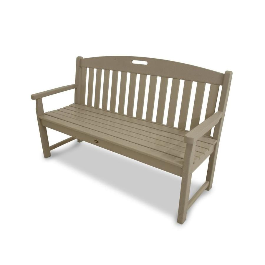 Trex Outdoor Furniture Yacht Club 59-in W x 24-in L Sand Castle Plastic Patio Bench