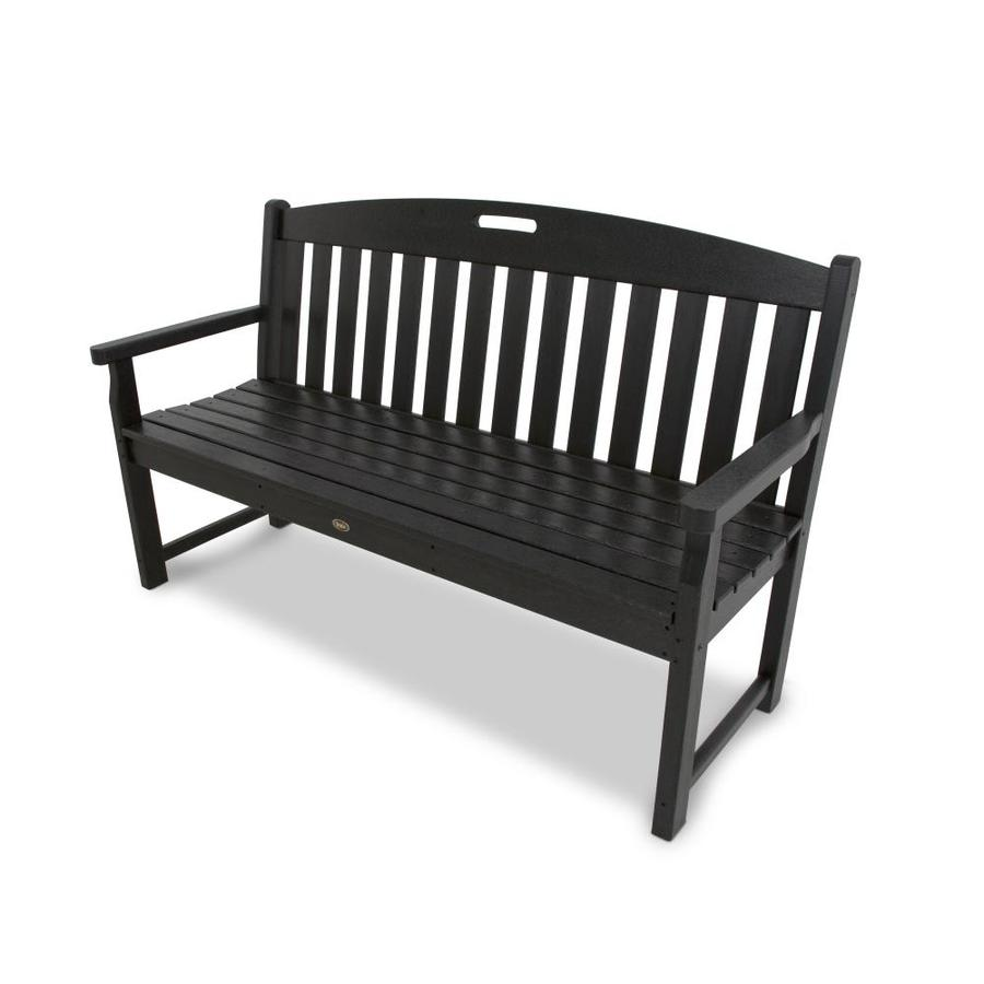 Trex Outdoor Furniture Yacht Club 59.5-in W x 24.25-in L Charcoal Black Plastic Patio Bench
