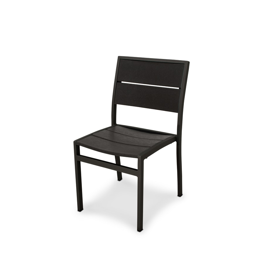 Shop trex outdoor furniture surf city textured black for Black plastic dining chairs