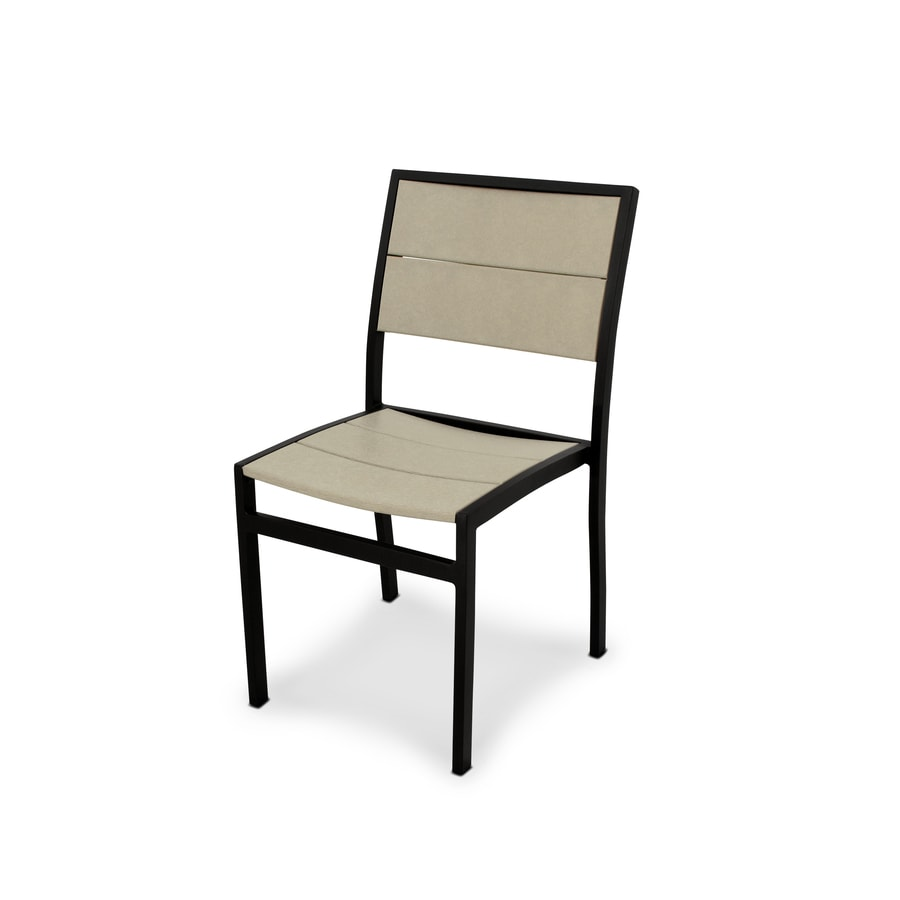Trex Outdoor Furniture Surf City Textured Black/Sand Castle Plastic Patio Dining Chair