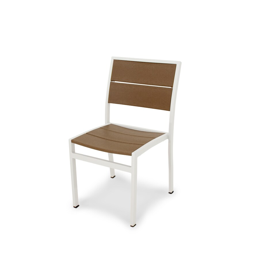 Trex Outdoor Furniture Surf City Satin White/Tree House Plastic Patio Dining Chair