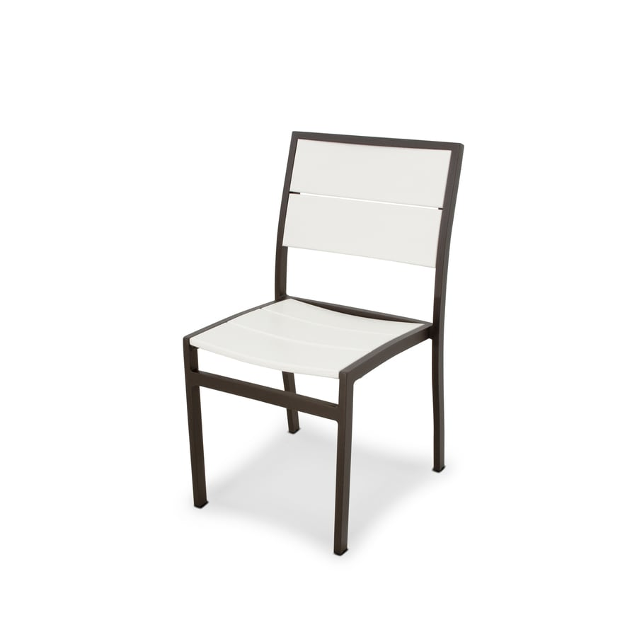 Shop Trex Outdoor Furniture Surf City Textured Bronze Classic White Plastic Patio Dining Chair