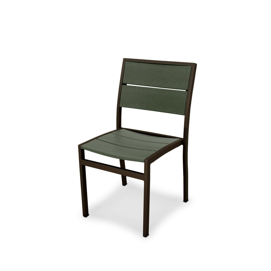 Trex Outdoor Furniture Surf City Textured Bronze/Rainforest Canopy Plastic Patio Dining Chair