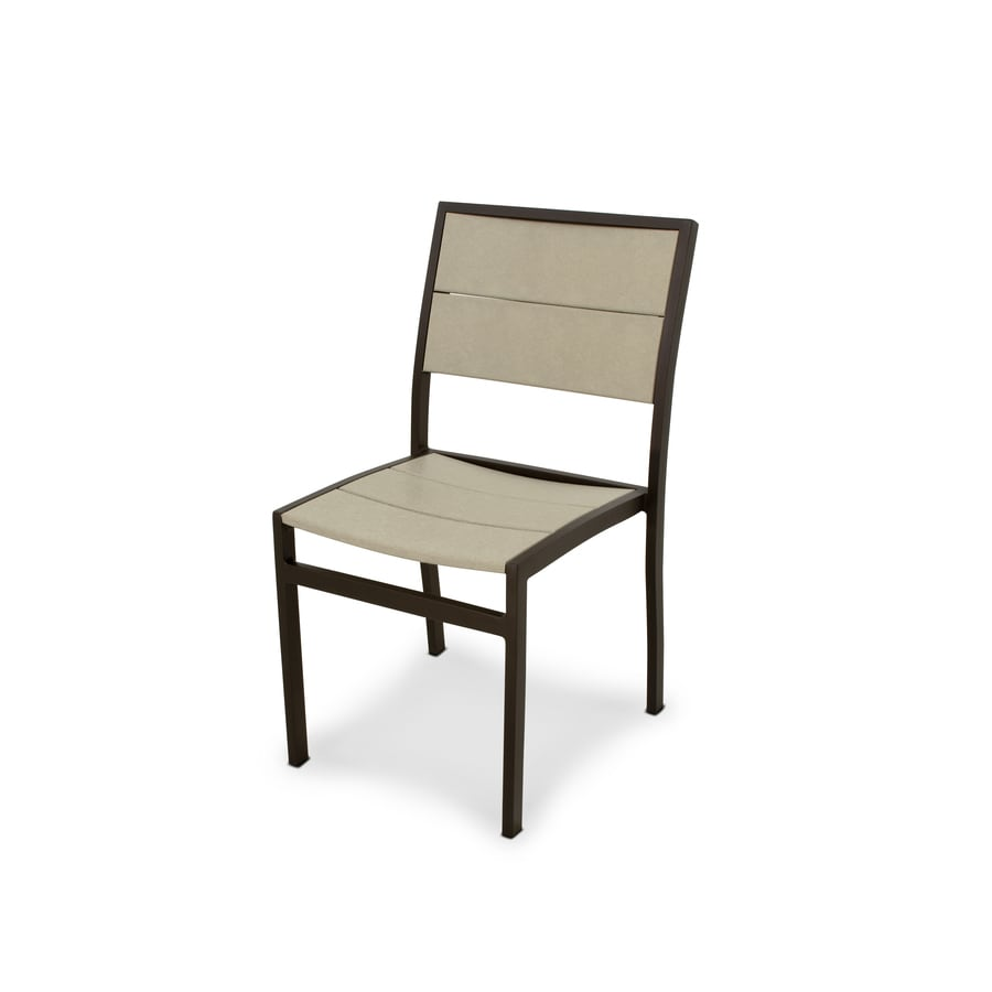 Trex Outdoor Furniture Surf City Textured Bronze / Sand Castle Plastic Patio Dining Chair