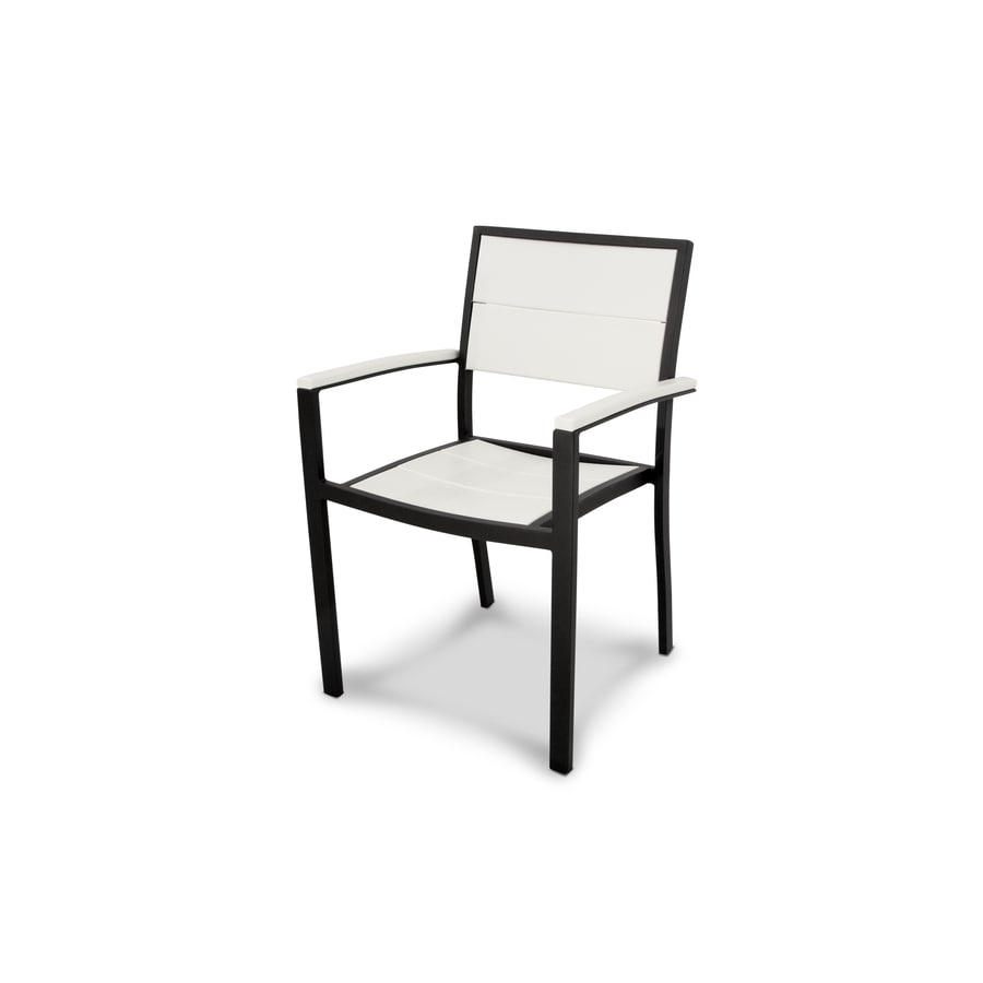 Trex Outdoor Furniture Surf City Textured Black/Classic White Plastic Patio Dining Chair