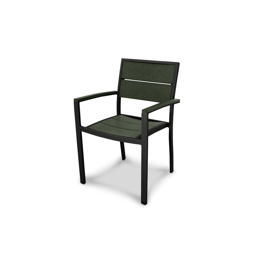 Trex Outdoor Furniture Surf City Textured Black/Rainforest Canopy Plastic Patio Dining Chair