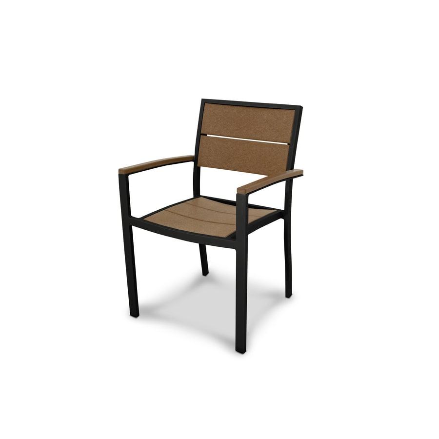 Trex Outdoor Furniture Surf City Textured Black/Tree House Plastic Patio Dining Chair