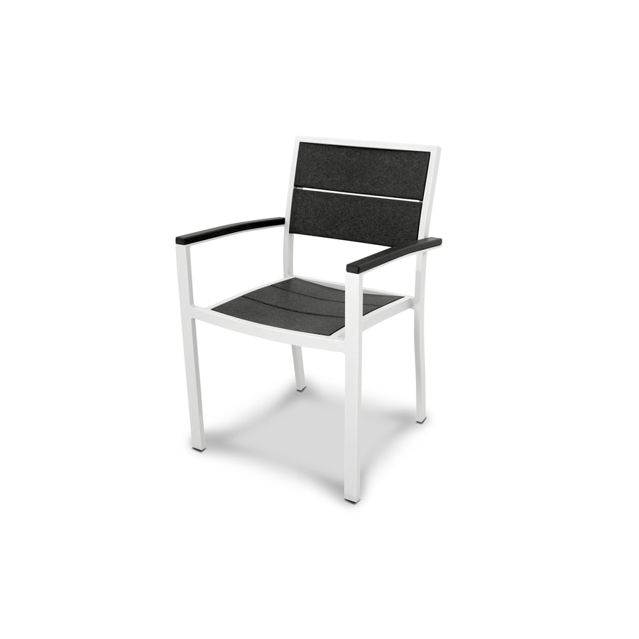 Trex Outdoor Furniture Surf City Satin White / Charcoal Black Plastic Patio Dining Chair
