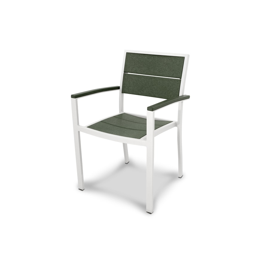 Trex Outdoor Furniture Surf City Satin White/Rainforest Canopy Plastic Patio Dining Chair