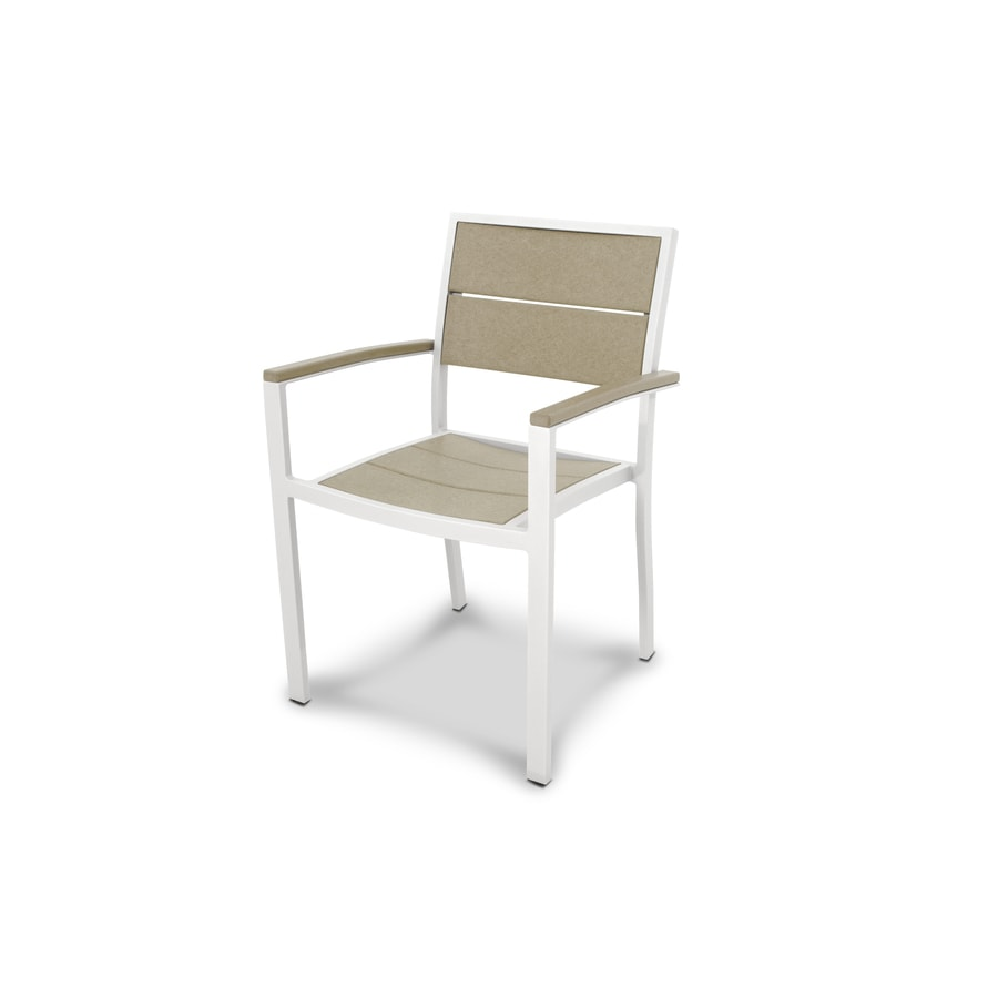 Trex Outdoor Furniture Surf City Satin White / Sand Castle Plastic Patio Dining Chair