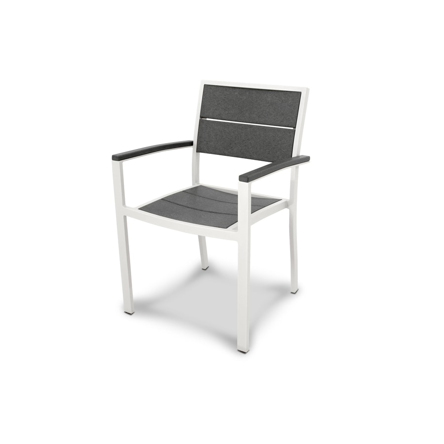 Trex Outdoor Furniture Surf City Satin White / Stepping Stone Plastic Patio Dining Chair
