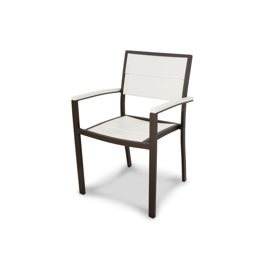 Trex Outdoor Furniture Surf City Textured Bronze / Classic White Plastic Patio Dining Chair