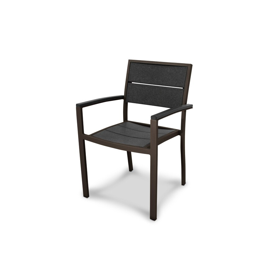 Trex Outdoor Furniture Surf City Textured Bronze/Stepping Stone Plastic Patio Dining Chair
