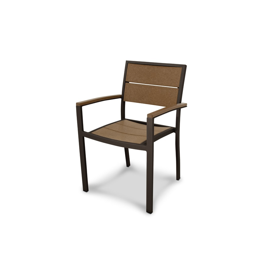 Trex Outdoor Furniture Surf City Textured Bronze / Tree House Plastic Patio Dining Chair