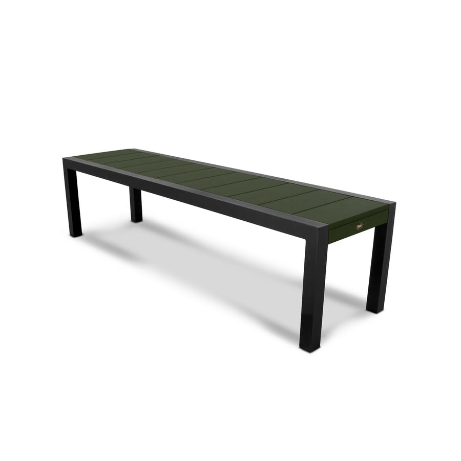 Trex Outdoor Furniture Surf City 68-in W x 18-in L Textured Black/Rainforest Canopy Plastic Patio Bench