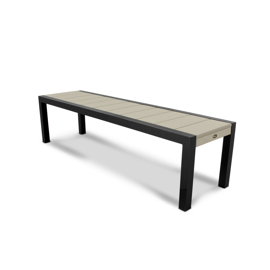 Trex Outdoor Furniture Surf City 68-in W x 18-in L Textured Black/Sand Castle Plastic Patio Bench