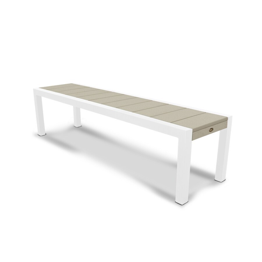 Trex Outdoor Furniture Surf City 68-in W x 18-in L Satin White / Sand Castle Plastic Patio Bench
