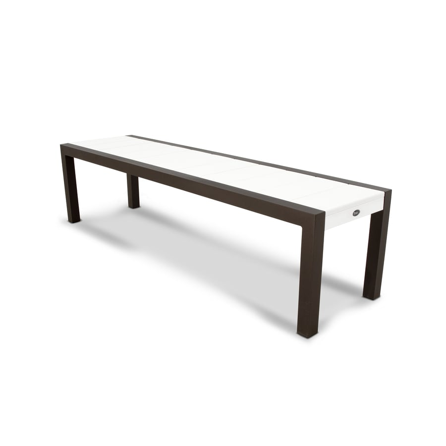 Trex Outdoor Furniture Surf City 68-in W x 18-in L Textured Bronze / Classic White Plastic Patio Bench