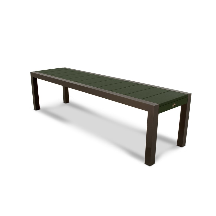 Trex Outdoor Furniture Surf City 68-in W x 18-in L Textured Bronze / Rainforest Canopy Plastic Patio Bench