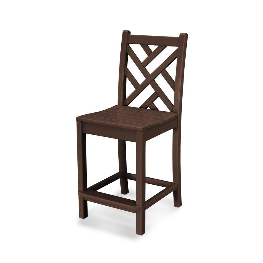 Superior POLYWOOD Chippendale Mahogany Plastic Patio Bar Stool Chair