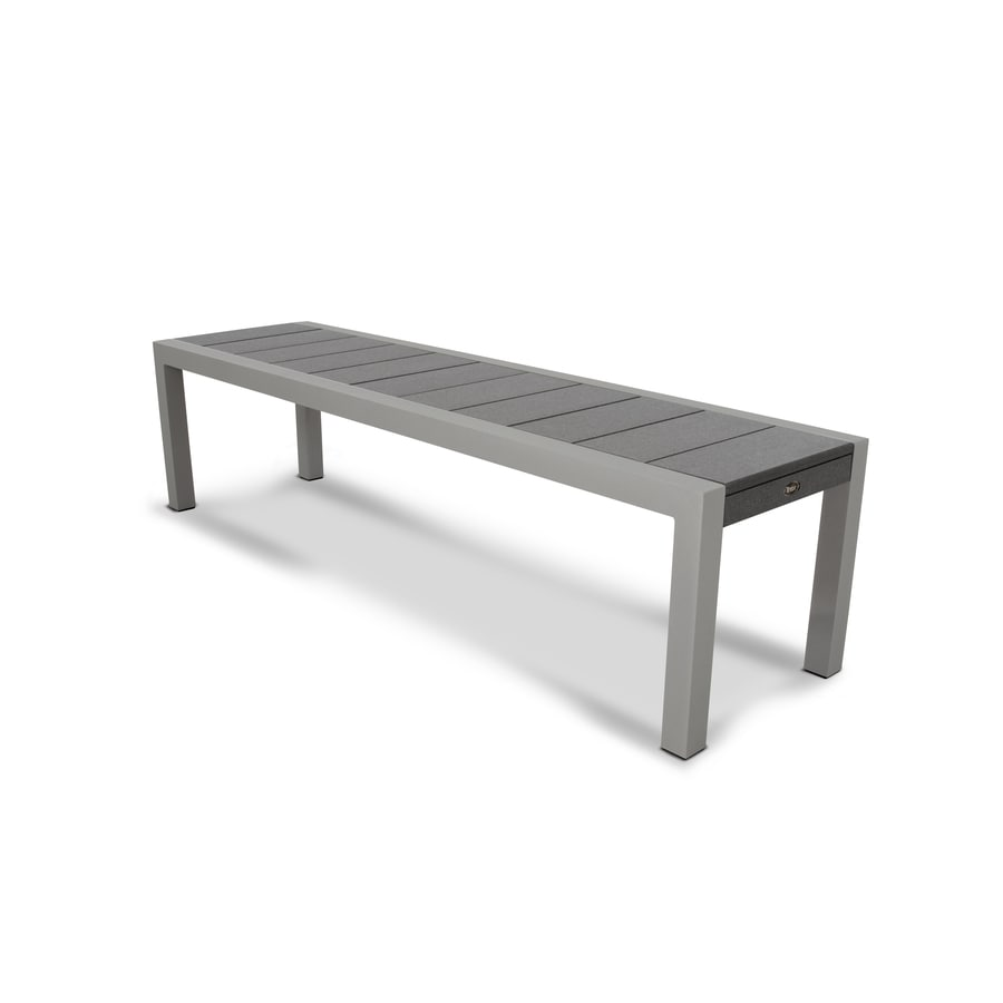 Trex Outdoor Furniture Surf City 68-in W x 18-in L Textured Silver/Stepping Stone Plastic Patio Bench