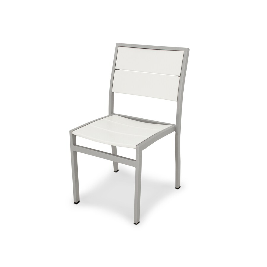 Trex Outdoor Furniture Surf City Textured Silver/Classic White Plastic Patio Dining Chair