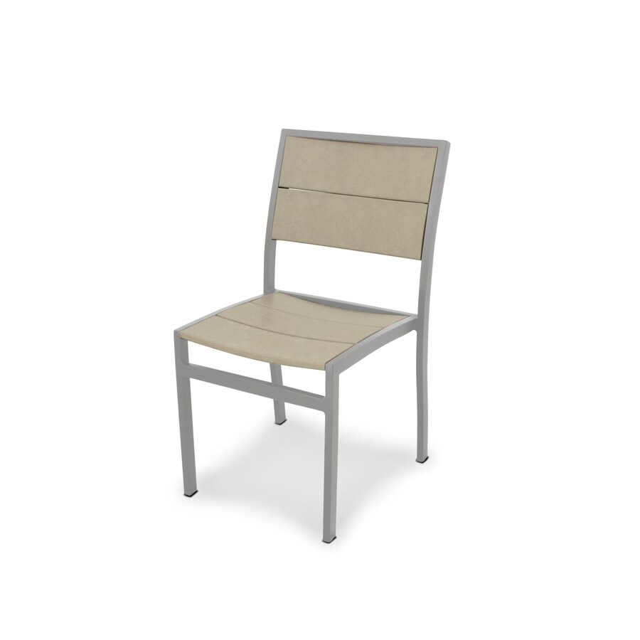 Trex Outdoor Furniture Surf City Textured Silver / Sand Castle Plastic Patio Dining Chair