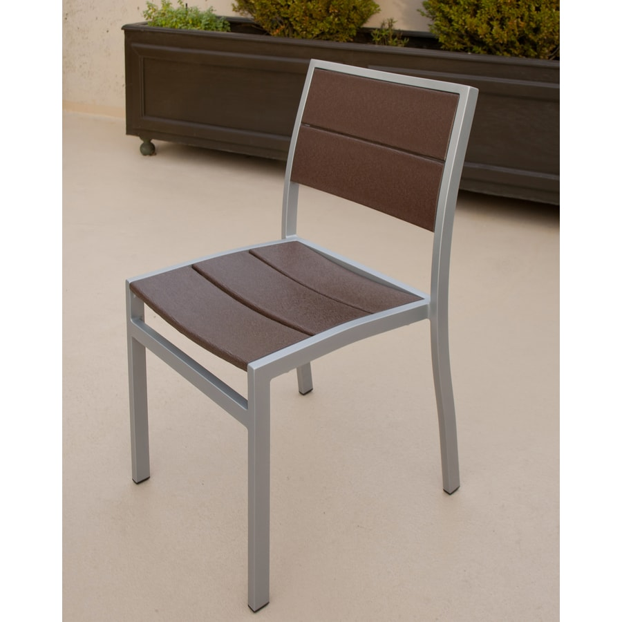 Trex Outdoor Furniture Surf City Textured Silver/Vintage Lantern Plastic Patio Dining Chair