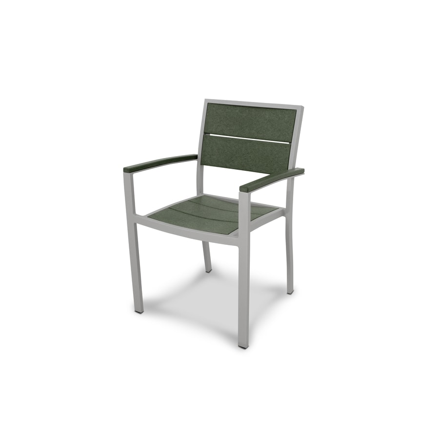 Trex Outdoor Furniture Surf City Textured Silver/Rainforest Canopy Plastic Patio Dining Chair