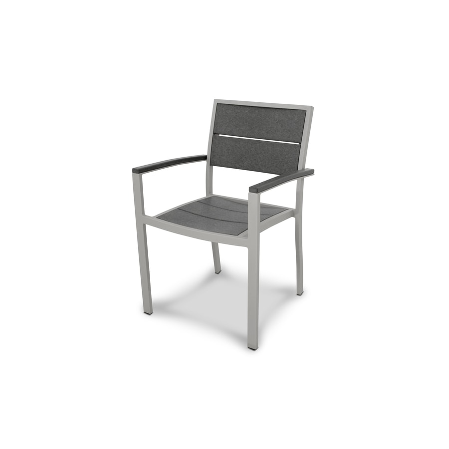 Trex Outdoor Furniture Surf City Textured Silver/Stepping Stone Plastic Patio Dining Chair