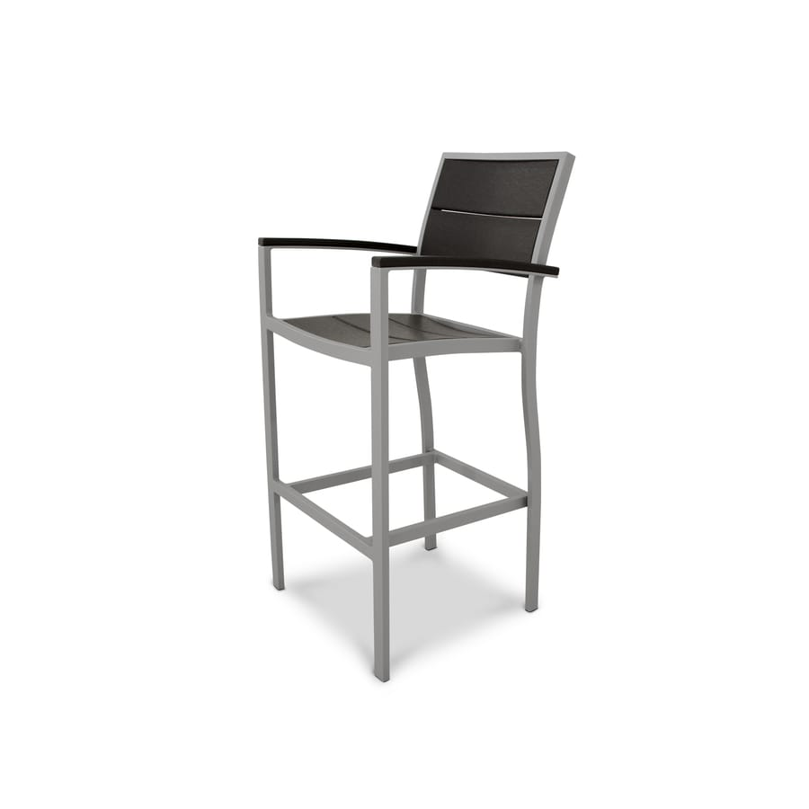 Trex Outdoor Furniture Surf City Textured Silver/Charcoal Black Plastic Patio Dining Chair