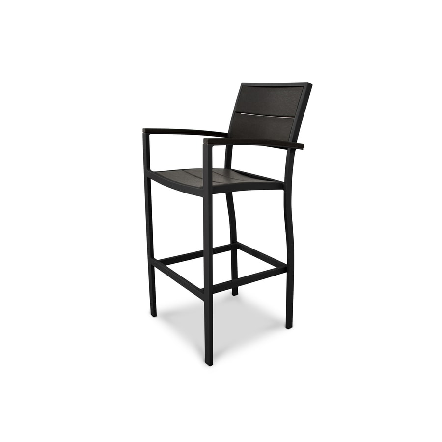 Trex Outdoor Furniture Surf City Textured Black/Charcoal Black Plastic Patio Dining Chair