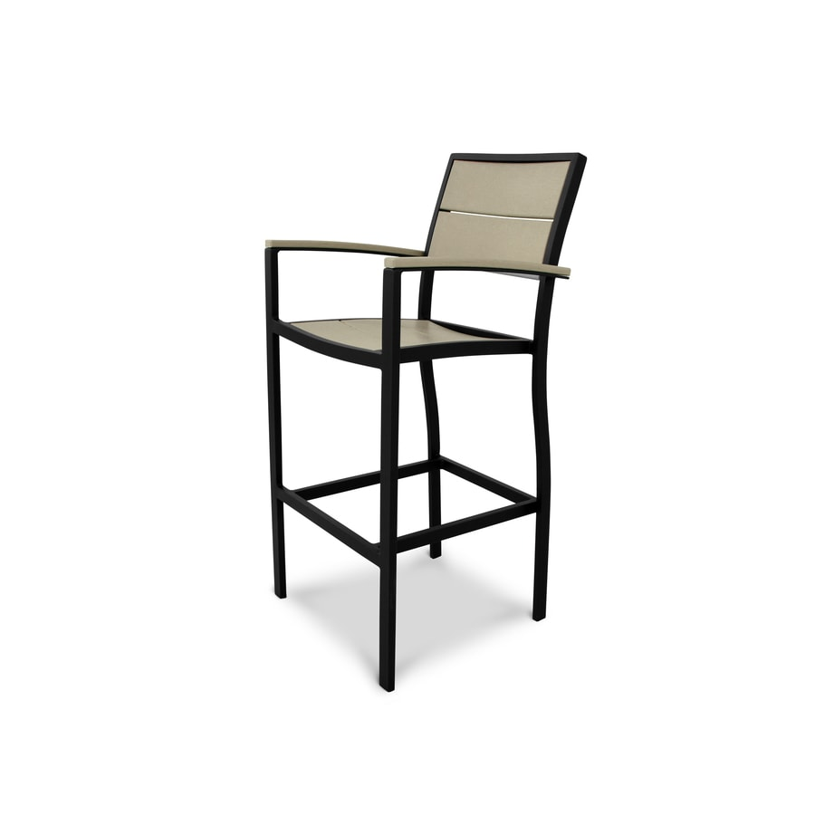 Trex Outdoor Furniture Surf City Textured Black / Sand Castle Plastic Patio Dining Chair