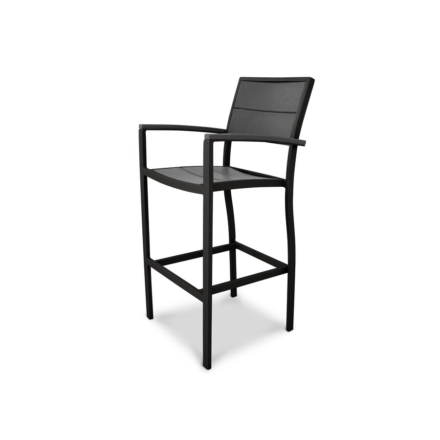 Trex Outdoor Furniture Surf City Textured Black/Stepping Stone Plastic Patio Dining Chair