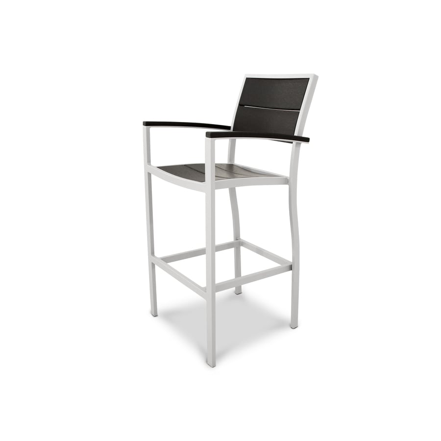 Trex Outdoor Furniture Surf City Satin White/Charcoal Black Plastic Patio Dining Chair